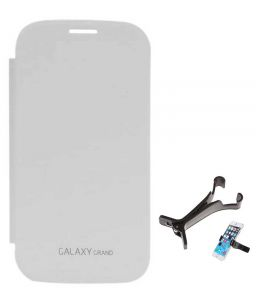 Tbz Flip Cover Case For Samsung Galaxy Grand Duos I9082 With Multi Stand Tablet/phone Holder - White