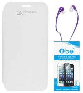 Tbz Flip Cover Case For Micromax Canvas HD A116 With Earphone And Screen Guard - White