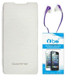 Tbz Flip Cover Case For Micromax Canvas Nitro A311 With Earphone And Tempered Screen Guard - White