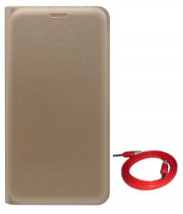 Tbz Pu Leather Flip Cover Case For Lenovo K6 Note With Aux Cable - Golden