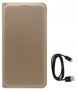 Tbz Pu Leather Flip Cover Case For Lenovo K6 Note With Data Cable - Golden
