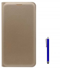 Tbz Pu Leather Flip Cover Case For Lenovo K6 Note With Stylus - Golden
