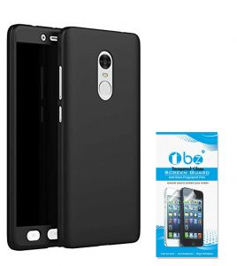 Tbz 360 Protection Front & Back Case Cover For Lenovo K8 Note With Tempered Screen Guard - Black