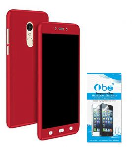 Tbz 360 Protection Front & Back Case Cover For Lenovo K8 Note With Tempered Screen Guard -red