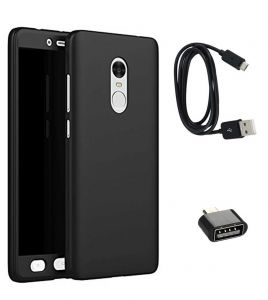 Tbz 360 Degree Protection Front & Back Case Cover For Lenovo K8 Note With Cute Micro USB Otg Adapter And Data Cable - Black