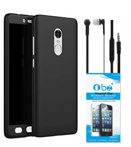 Tbz Front & Back Case Cover For Lenovo K8 Note With Earphone And Tempered Screen Guard - Black