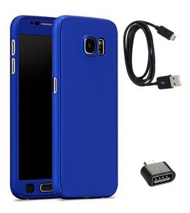 Tbz 360 Degree Protection Front & Back Case Cover Cover For Samsung Galaxy J7 Max With Cute Micro USB Otg Adapter And Data Cable - Blue