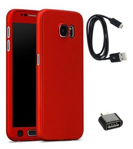 Tbz 360 Degree Protection Front & Back Case Cover Cover For Samsung Galaxy J7 Max With Cute Micro USB Otg Adapter And Data Cable - Red