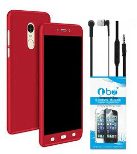 Tbz Front & Back Case Cover For Lenovo K8 Note With Earphone And Tempered Screen Guard -red