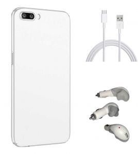 Tbz All Sides Protection Hard Back Case Cover For Oneplus 5 With Car Charger And Data Cable -white