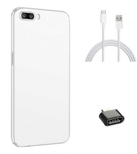 Tbz All Sides Protection Hard Back Case Cover For Oneplus 5 With Cute Micro USB Otg Adapter And Data Cable -white