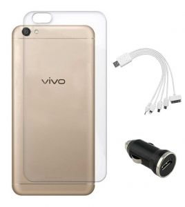 Tbz Transparent Silicon Soft Tpu Slim Back Case Cover For Vivo Y66 With Car Charger And 5 In 1 Multi Charging USB Cable - Black