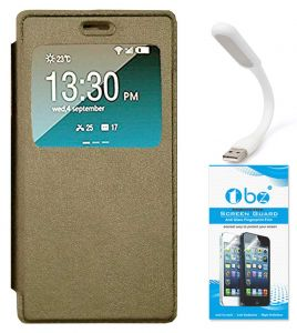 Tbz Window Premium Flip Cover Case For Vivo V5 With Flexible USB LED Light And Tempered Screen Guard - Golden