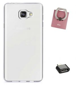 Tbz Transparent Silicon Soft Tpu Slim Back Case Cover For Samsung Z4 With Mobile Ring Holder And USB Otg Adapter