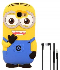 Tbz Minion Soft Rubber Silicone Back Case Cover For Samsung Galaxy J7 Prime With Earphone