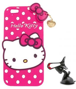 Tbz Cute Hello Kitty Soft Rubber Silicone Back Case Cover For Samsung Galaxy On Max With Mobile Car Mount Holder Stand