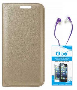 Mobile Accessory Combos - TBZ PU Leather Flip Cover Case for Motorola Moto G4 Plus with Earphone and Tempered Screen Guard - Golden