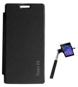 Tbz Flip Cover Case For Samsung Tizen Z3 With Selfie Stick Monopod With Aux - Black