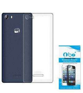 Tbz Transparent Silicon Tpu Slim Back Case Cover For Micromax Canvas 5 E481 With Tempered Screen Guard