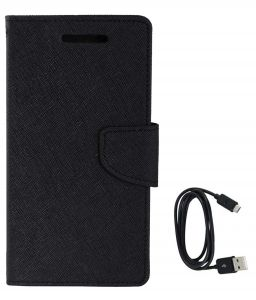 Tbz Diary Wallet Flip Cover Case For Samsung Galaxy On Max With Data Cable - Black