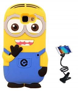 Tbz Cartoon Minion Soft Rubber Silicone Back Case Cover For Samsung Galaxy J7 Max With Flexible Tablet/phone Holder Lazy Stand