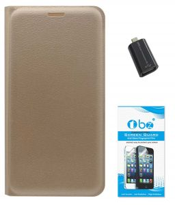 Mobile Accessory Combos - TBZ PU Leather Flip Cover Case for Samsung Galaxy On8 with OTG Adaptor and Tempered Screen Guard - Golden