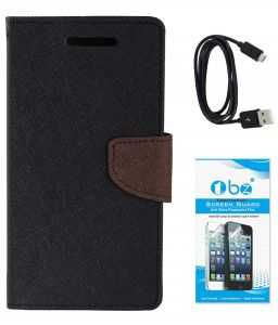 Tbz Diary Wallet Flip Cover Case For Samsung Galaxy On Max With Data Cable And Tempered Screen Guard - Black-brown