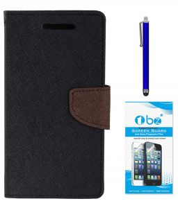 Tbz Diary Wallet Flip Cover Case For Lenovo K8 Note With Stylus Pen And Tempered Screen Guard - Black-brown