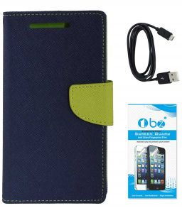 Tbz Diary Wallet Flip Cover Case For Samsung Galaxy On Max With Data Cable And Tempered Screen Guard - Blue-green