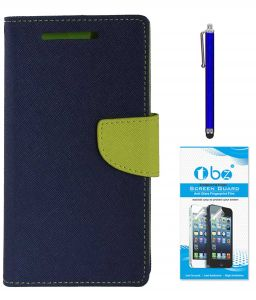 Tbz Diary Wallet Flip Cover Case For Lenovo K6 Power With Stylus Pen And Tempered Screen Guard -blue-green