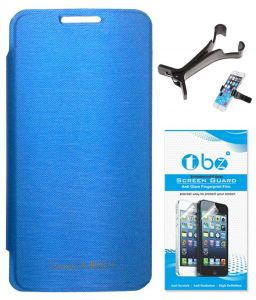 Tbz Flip Cover Case For Micromax Canvas Juice 2 Aq5001 With Multi Stand Tablet/phone Holder And Tempered Screen Guard - Blue