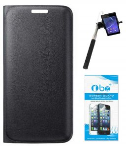 Tbz Pu Leather Flip Cover Case For Lenovo Zuk Z1 With Selfie Stick Monopod With Aux And Tempered Screen Guard - Black