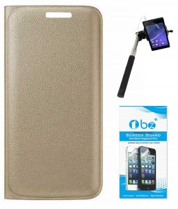 Tbz Pu Leather Flip Cover Case For Lenovo Zuk Z1 With Selfie Stick Monopod With Aux And Tempered Screen Guard - Golden