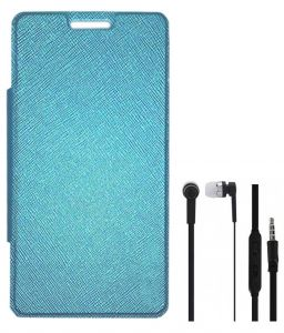 Tbz Flip Cover Case For Samsung Galaxy Grand 2 With Earphone - Blue