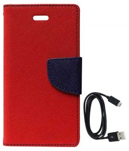Tbz Diary Wallet Flip Cover Case For Samsung Galaxy On Max With Data Cable - Red