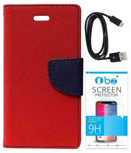 Tbz Diary Wallet Flip Cover Case For Samsung Galaxy J7 Max With Data Cable And Tempered Screen Guard - Red