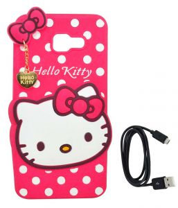 Tbz Cute Hello Kitty Soft Rubber Silicone Back Case Cover For Samsung Galaxy On Max With Data Cable