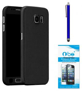 Tbz 360 Degree Protection Front & Back Case Cover Cover For Samsung Galaxy J7 Max With Stylus Pen And Tempered Screen Guard - Black