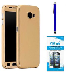 Tbz 360 Degree Protection Front & Back Case Cover Cover For Samsung Galaxy On Max With Stylus Pen And Tempegolden Screen Guard -golden