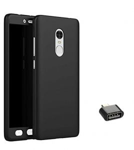 Tbz 360 Degree Protection Front & Back Case Cover For Lenovo K8 Note With Cute Micro USB Otg Adapter - Black