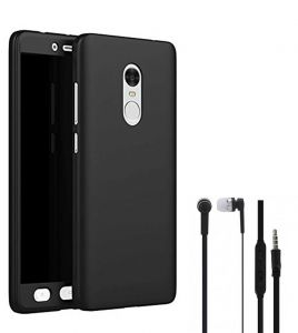 Tbz Front & Back Case Cover For Lenovo K8 Note With Earphone - Black