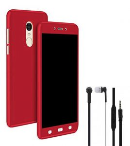 Tbz Front & Back Case Cover For Lenovo K8 Note With Earphone -red