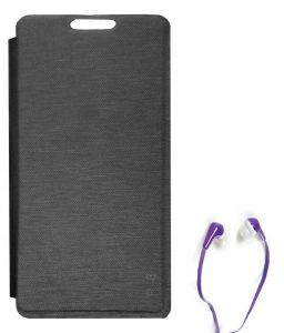 Tbz Flip Cover Case For Lava Flair P8 With Earphone - Black
