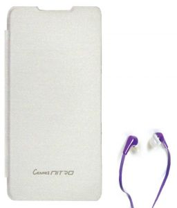 Tbz Flip Cover Case For Micromax Canvas Nitro A311 With Earphone - White
