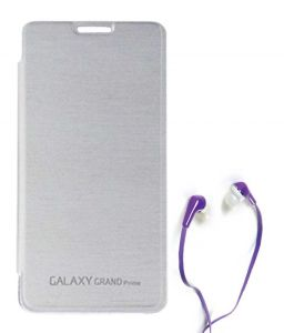 Tbz Flip Cover Case For Samsung Galaxy Grand Prime G530h With Earphone - White