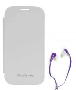 Tbz Flip Cover Case For Samsung Galaxy Grand Duos I9082 With Earphone - White