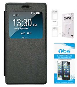 Tbz Window Premium Flip Cover Case For Vivo V5 With Nossy Sim Adaptor And Tempered Screen Guard - Black