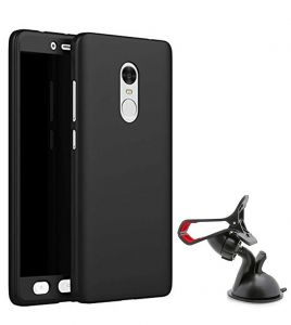 Tbz 360 Degree Protection Front & Back Case Cover For Lenovo K8 Note With Mobile Car Mount Holder Stand - Black
