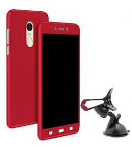 Tbz 360 Degree Protection Front & Back Case Cover For Lenovo K8 Note With Mobile Car Mount Holder Stand -red