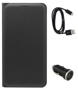 Tbz Pu Leather Flip Cover Case For Xiaomi Redmi Note 4 With Car Charger And Data Cable - Black